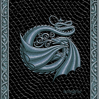Draco Token G, Silver on Black by Sue Ellen Brown