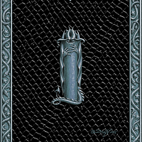 Draco Token I -2.0, Silver on Black by Sue Ellen Brown