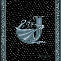 Draco Token J, Silver on Black by Sue Ellen Brown