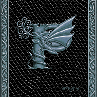 Draco Token P, Silver on Black by Sue Ellen Brown