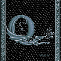 Draco Token Q, Silver on Black by Sue Ellen Brown
