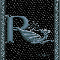 Draco Token R, Silver on Black by Sue Ellen Brown
