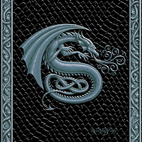 Draco Token S, Silver on Black by Sue Ellen Brown