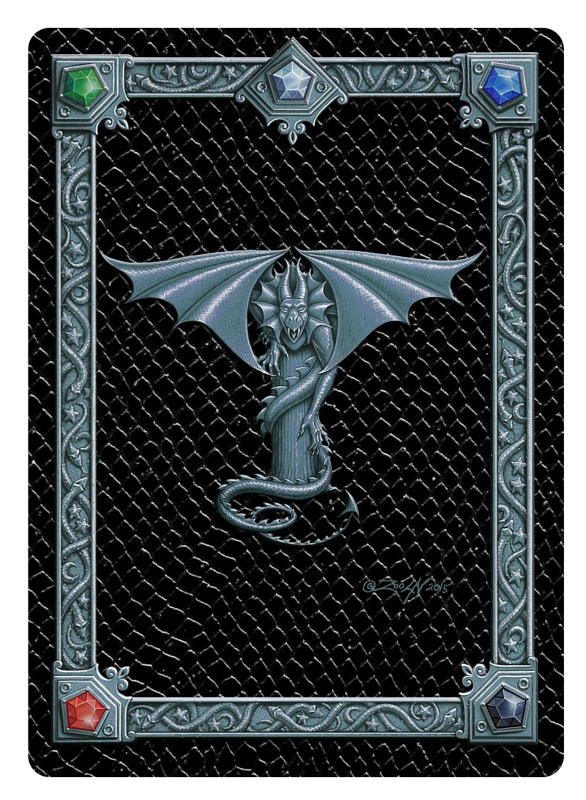 Draco Token T - 1.0, Silver on Black by Sue Ellen Brown