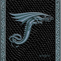 Draco Token T - 3.0, Silver on Black by Sue Ellen Brown