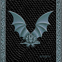Draco Token V, Silver on Black by Sue Ellen Brown