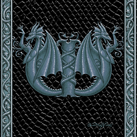 Draco Token W - 2.0, Silver on Black by Sue Ellen Brown