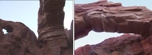 detail shots of the stone arch that bridges the dead-end canyon by Forest  Boone