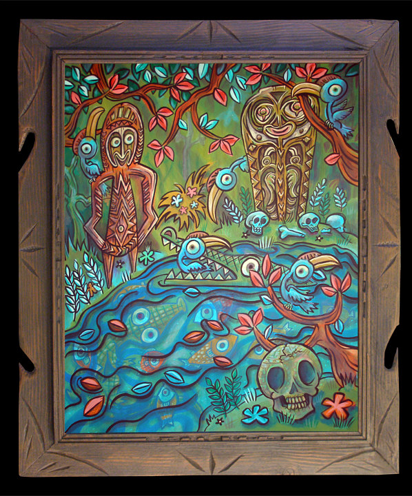 "Acrylic painting ""Along the Sepik River"" by Kenneth M Ruzic"