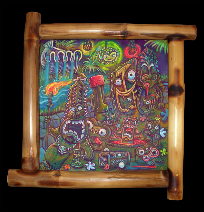 "Acrylic painting ""Night at the Tiki Temple"" by Kenneth M Ruzic"