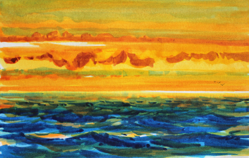 Watercolor Pacific Sunset by Wanda Hawse