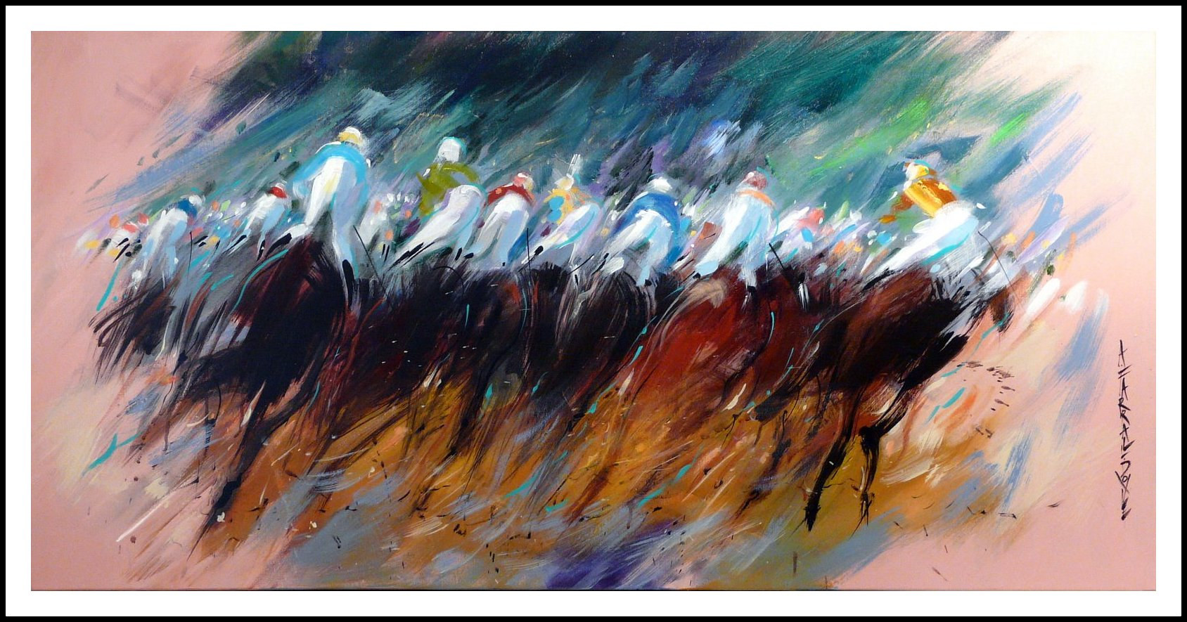 Oil painting Roaring Past 12x35 oil on canvas by Anne Farrall Doyle