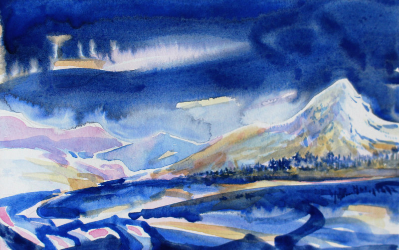 Watercolor Early Night on the Coquihalla, BC by Wanda Hawse