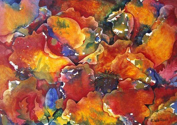 Watercolor Profusion of Poppies by Vicki Allesia