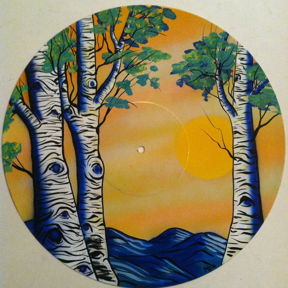 Sun & Aspens  - Painting on Vinyl Record by Mr Mizu by Isaac Carpenter