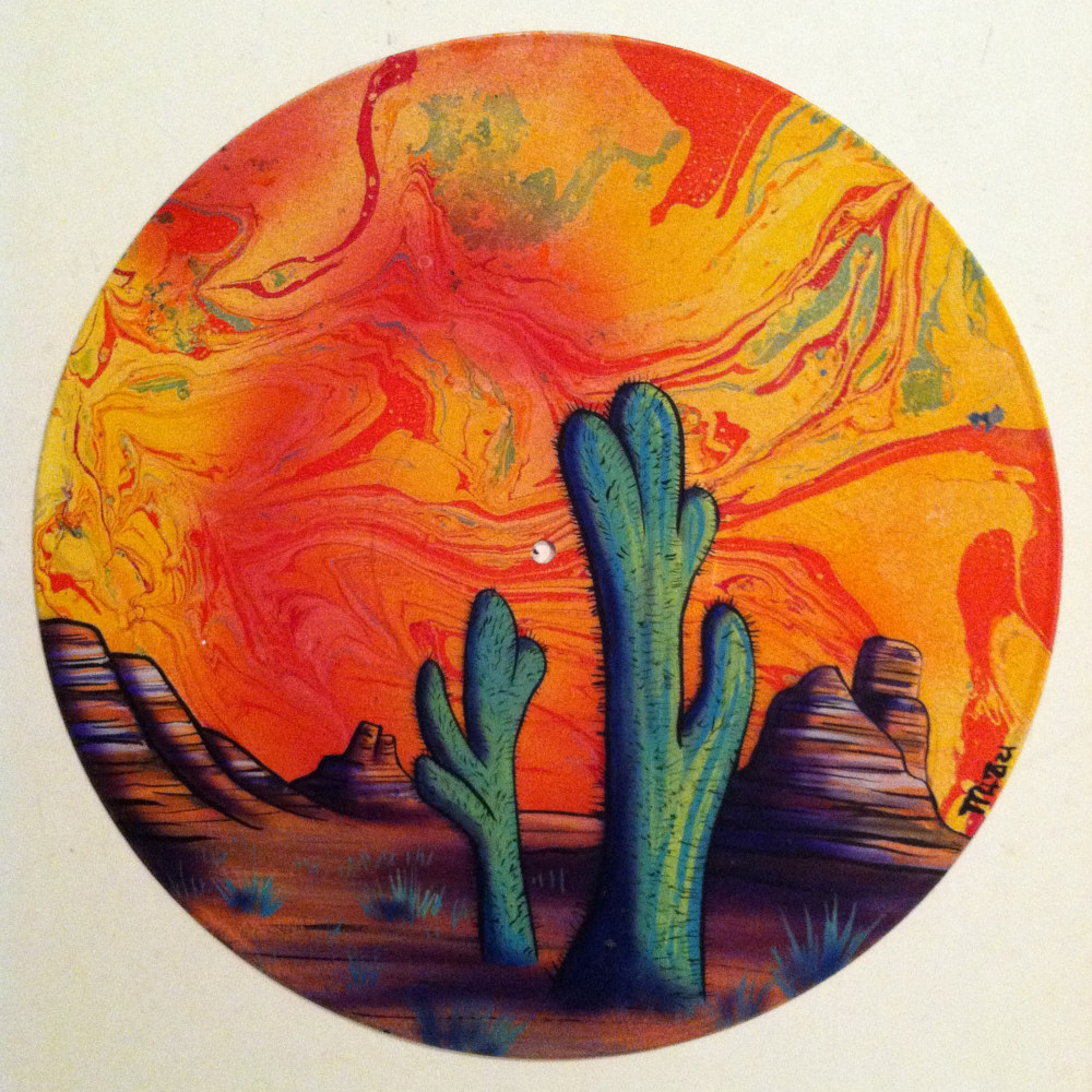 Painting Lava Sunset  - Painting on Vinyl Record by Mr Mizu by Isaac Carpenter