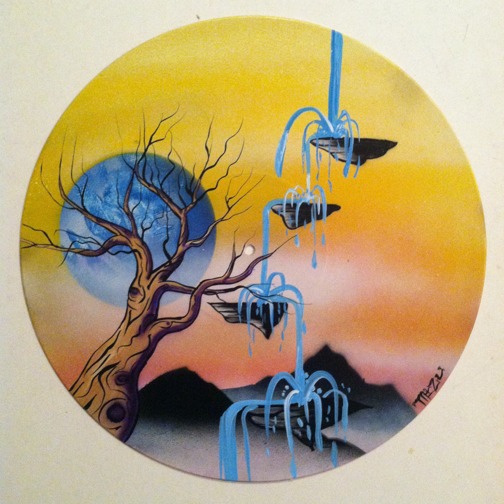 Waterfall  - Painting on Vinyl Record by Mr Mizu by Isaac Carpenter