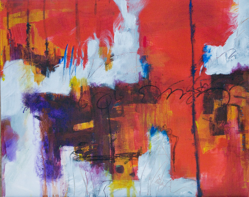"Acrylic painting Red Hot and Cold, 16"" X 20"" by Skai Fowler"