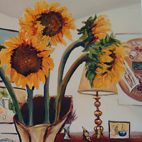 Oil painting Sunflowers in my dining room in my sister Karen's vase June 2 by Michelle Marcotte
