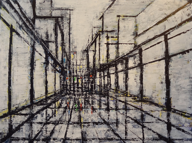 Acrylic painting Urban Composition in Black and White by David Tycho