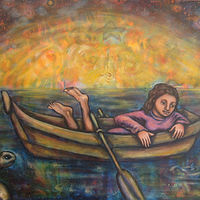 Acrylic painting Divining Dreams (#1 of Navigating Miracles Series) by Emily K. Grieves
