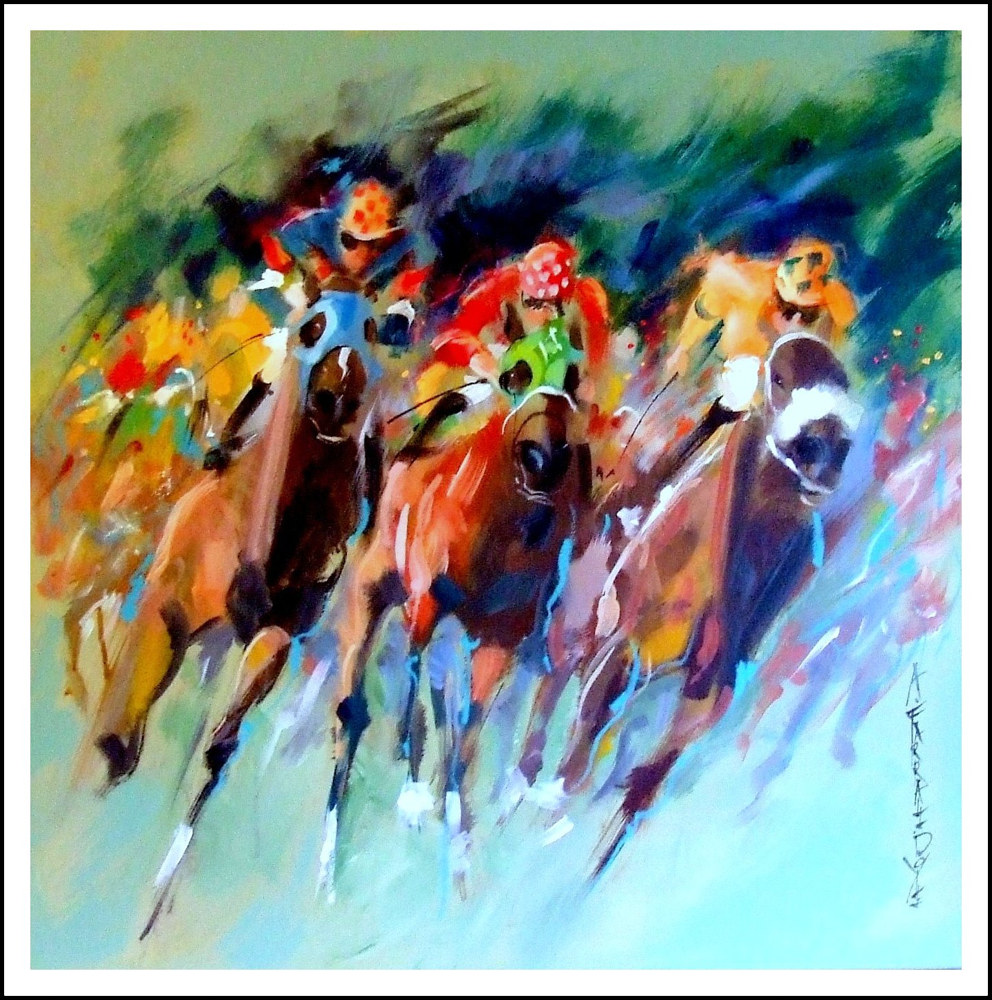 Acrylic painting Flying Finish(Surging Home) by Anne Farrall Doyle