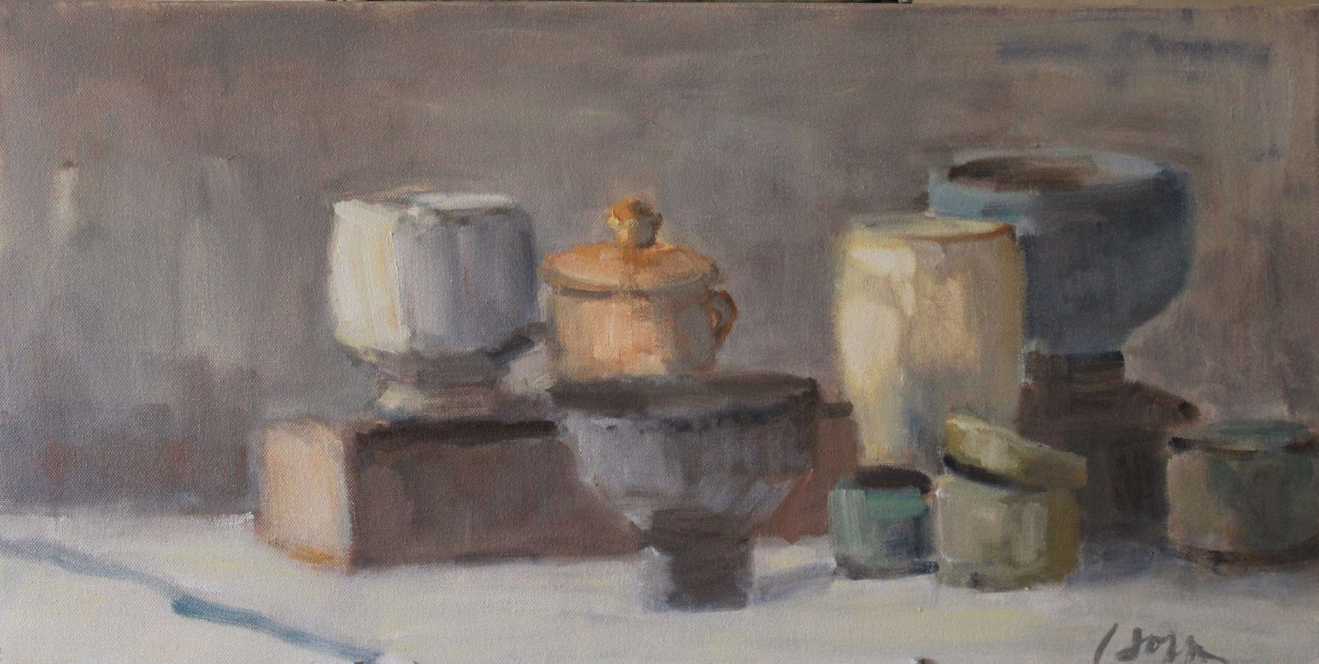 "Oil painting Still Life With Small Orange Jar, oil on canvas,  12"" x 20"" by Susan Horn"
