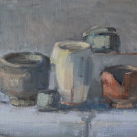 Oil painting IMG_7917Still Life With Broken Cup, oil on board,   by Susan Horn