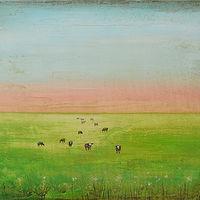 Acrylic painting Happy Cows by Sally Adams