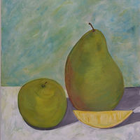 Oil painting Apple, Pear, and Lemon by Jill  Tompkins