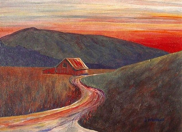 Acrylic painting Evening Hills by Vicki Allesia