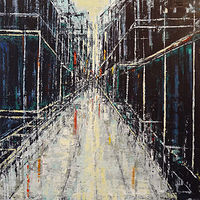 Acrylic painting City in Black and White by David Tycho