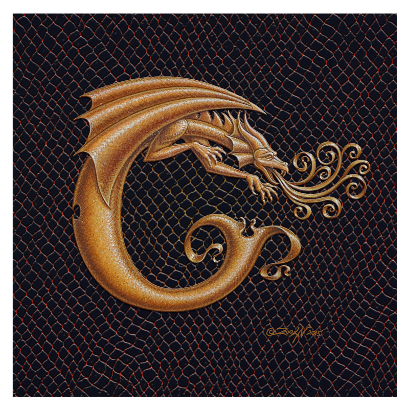 "Print Dracoserific Letter C, Gold on Jet Black 8x8""Square by Sue Ellen Brown"