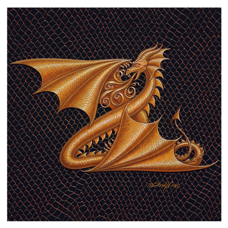 "Print Dracoserific Letter Z, Gold on Jet Black 8x8""Square by Sue Ellen Brown"