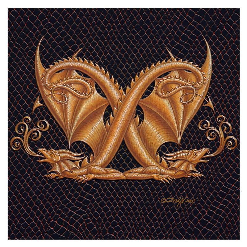 "Print Dracoserific Letter X, Gold on Jet Black 8x8""Square by Sue Ellen Brown"