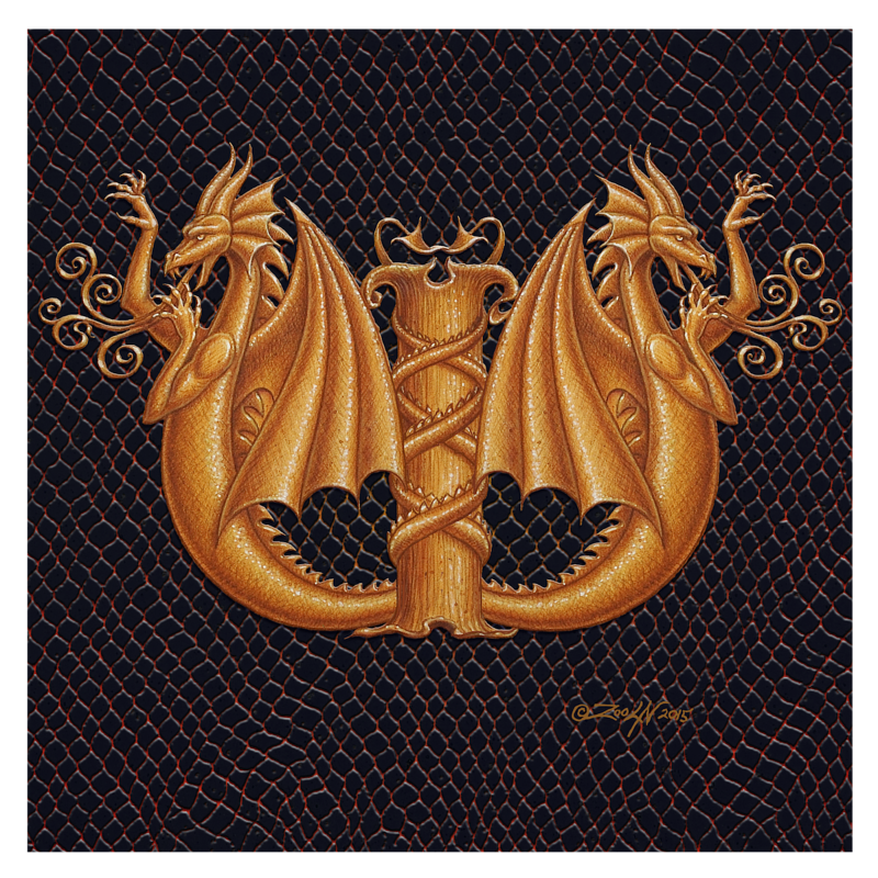 "Print Dracoserific Letter W -2.0, Gold on Jet Black 8x8""Square by Sue Ellen Brown"