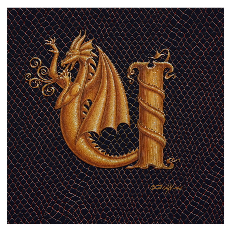 "Print Dracoserific Letter U, Gold on Jet Black 8x8""Square by Sue Ellen Brown"