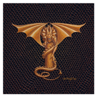 "Print Dracoserific Letter T - 1.0, Gold on Jet Black 8x8""Square by Sue Ellen Brown"