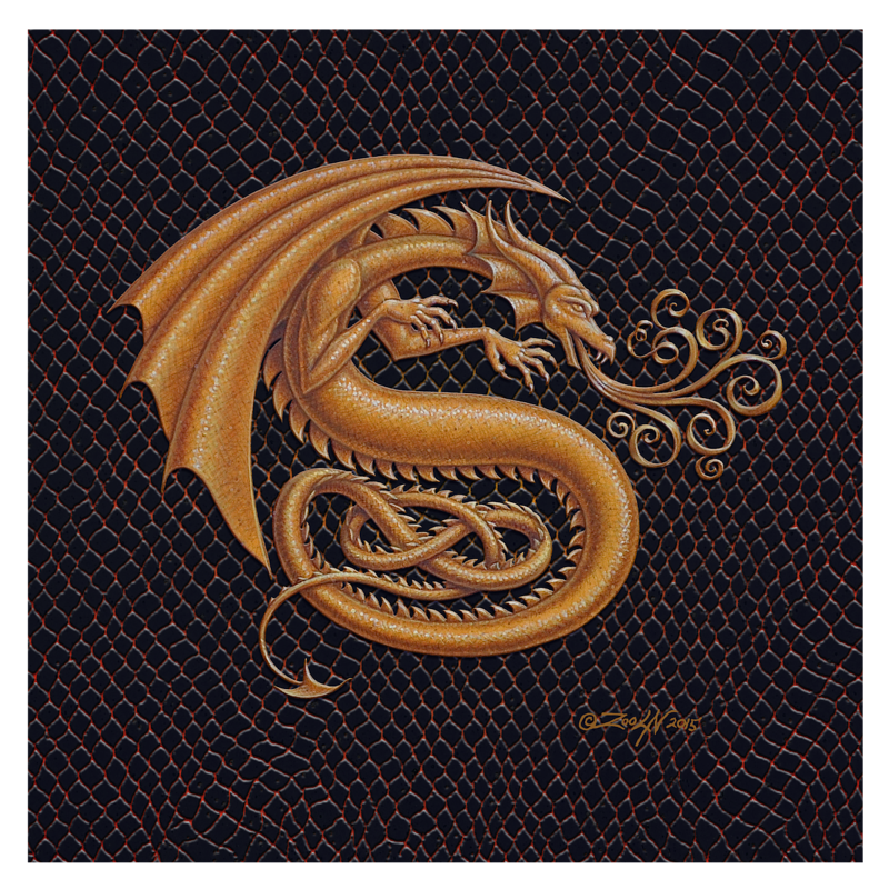 "Print Dracoserific Letter S, Gold on Jet Black 8x8""Square by Sue Ellen Brown"