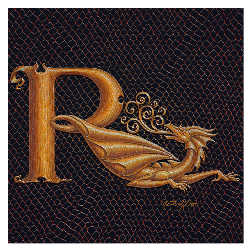 "Print Dracoserific Letter R, Gold on Jet Black 8x8""Square by Sue Ellen Brown"