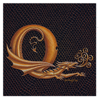 "Print Dracoserific Letter Q, Gold on Jet Black 8x8""Square by Sue Ellen Brown"