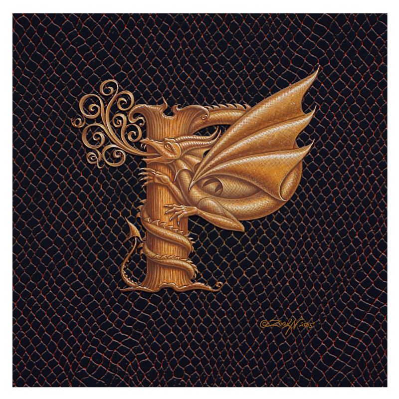 "Print Dracoserific Letter P, Gold on Jet Black 8x8""Square by Sue Ellen Brown"