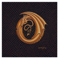 "Print Dracoserific Letter O, Gold on Jet Black 8x8""Square by Sue Ellen Brown"