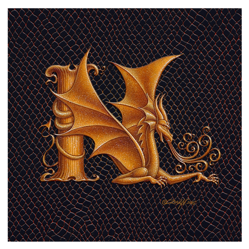 "Print Dracoserific Letter N, Gold on Jet Black 8x8""Square by Sue Ellen Brown"