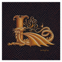 "Print Dracoserific Letter L, Gold on Jet Black 8x8""Square by Sue Ellen Brown"