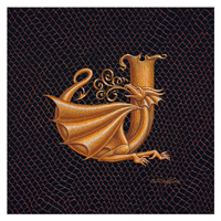 "Print Dracoserific Letter J, Gold on Jet Black 8x8""Square by Sue Ellen Brown"