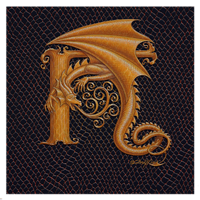 "Print Dracoserific Letter H, Gold on Jet Black 8x8""Square by Sue Ellen Brown"