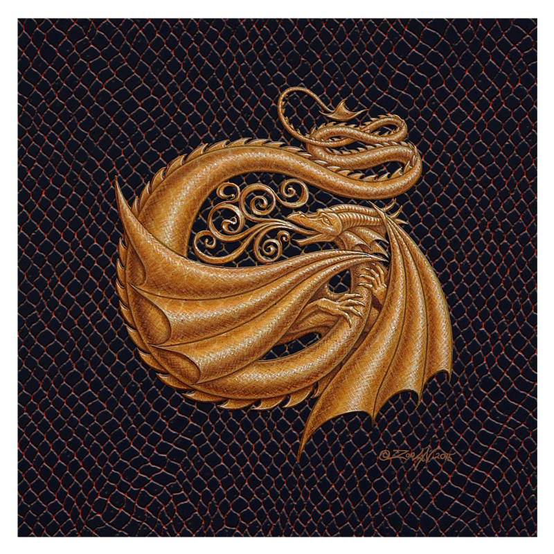 "Print Dracoserific Letter G, Gold on Jet Black 8x8""Square by Sue Ellen Brown"