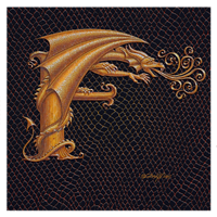 "Print Dracoserific Letter F, Gold on Jet Black 8x8""Square by Sue Ellen Brown"