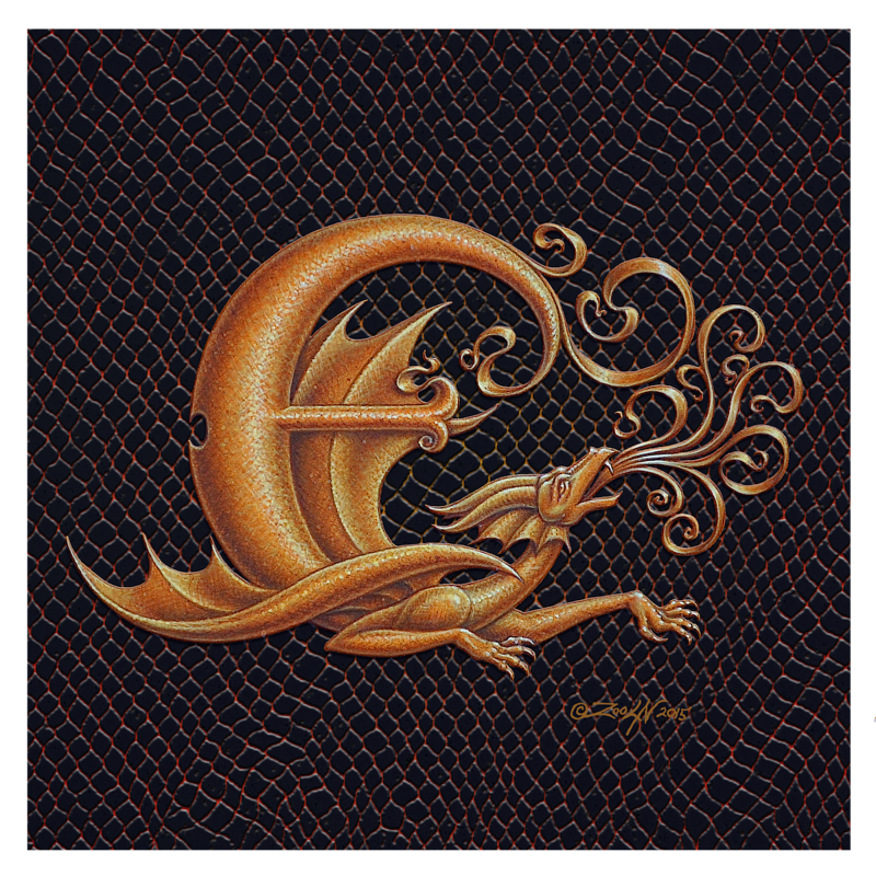 "Print Dracoserific Letter E, Gold on Jet Black 8x8""Square by Sue Ellen Brown"